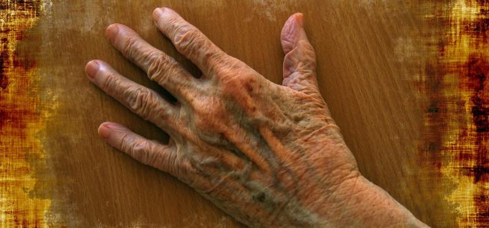 hand of elderly person