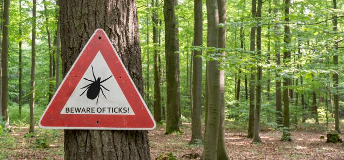 beware of ticks caution sign